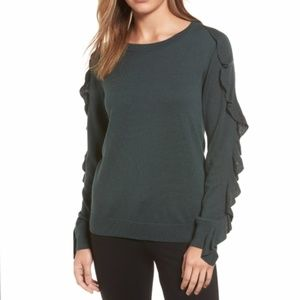 Halogen Dark Grey Ruffle Sleeve Sweater